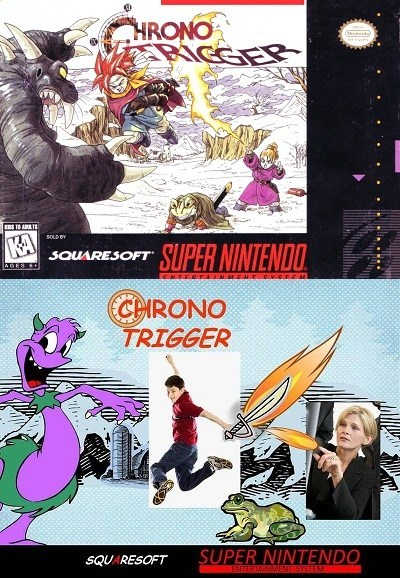 Cartoon - HRONO sOLD BY SUPER NINTENDO SOUARESOFT AGES + CNTERTLNHEHTeveTEM CHRONO TRIGGER SUPER NINTENDO ENTERTAINMENT SYSTEM SQUARESOFT
