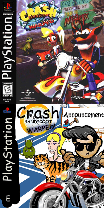 Cartoon - CRAT alypteia SPEEDI ENFOR ED BY WARPEO EVERYONE E UNIVERSAL scus soNY NAUGHTY DOG Crash Announcement- BANDECOOT WARPED! E ఈర PlayStation PlayStation