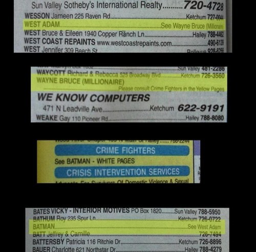 Adam West phone book nerdgasm superheroes batman classic - 7375739136