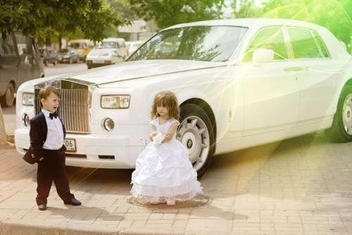 kids,cars,flower girls