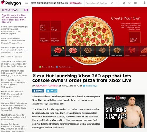 news pizza hut pizza polygon xbox 360 App