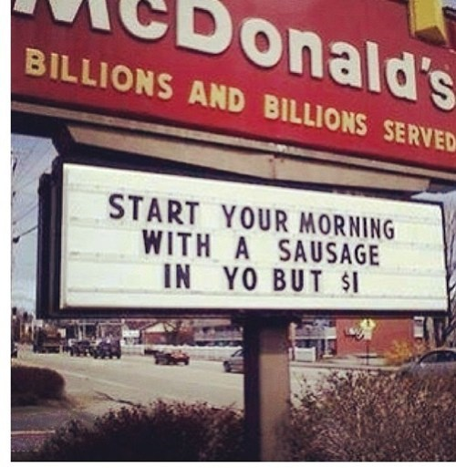 restaurant sign,McDonald's,fast food,sausage
