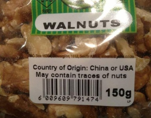 labels walnuts warnings