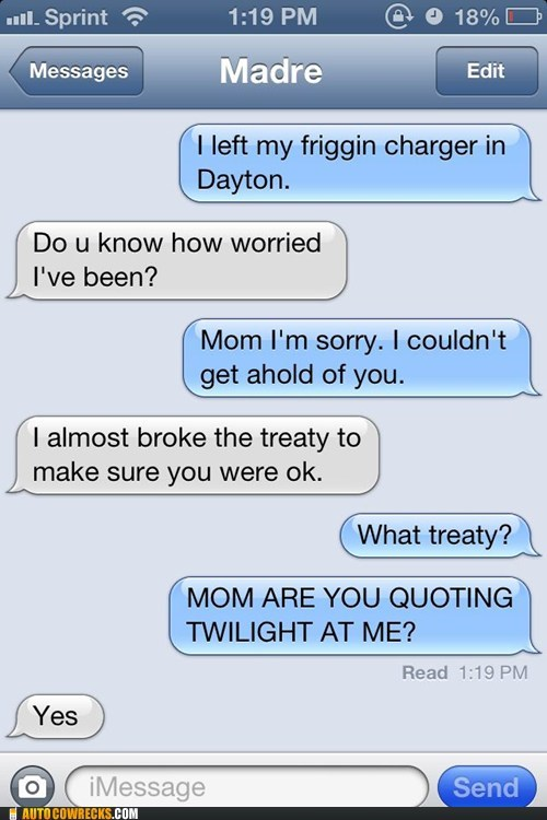 iPhones moms quoting twilight g rated AutocoWrecks