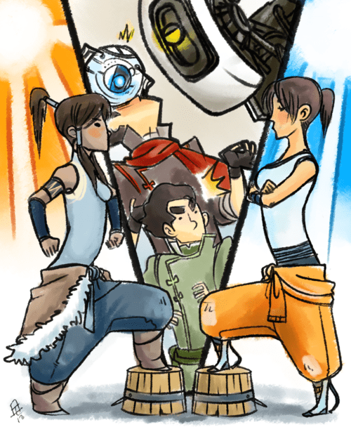 korra,crossover,cartoons,Portal,video games