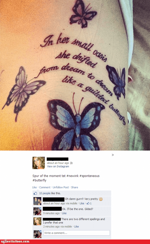 misspelled tattoos butterflies facebook - 7377742592