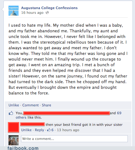 confessions page,star wars,anakin skywalker,failbook,g rated
