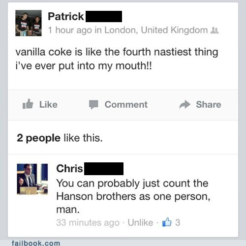mmm bop,vanilla coke,Hanson,burn,failbook