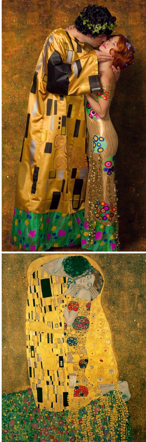Gustav Klimt,The Kiss,costume,paintings