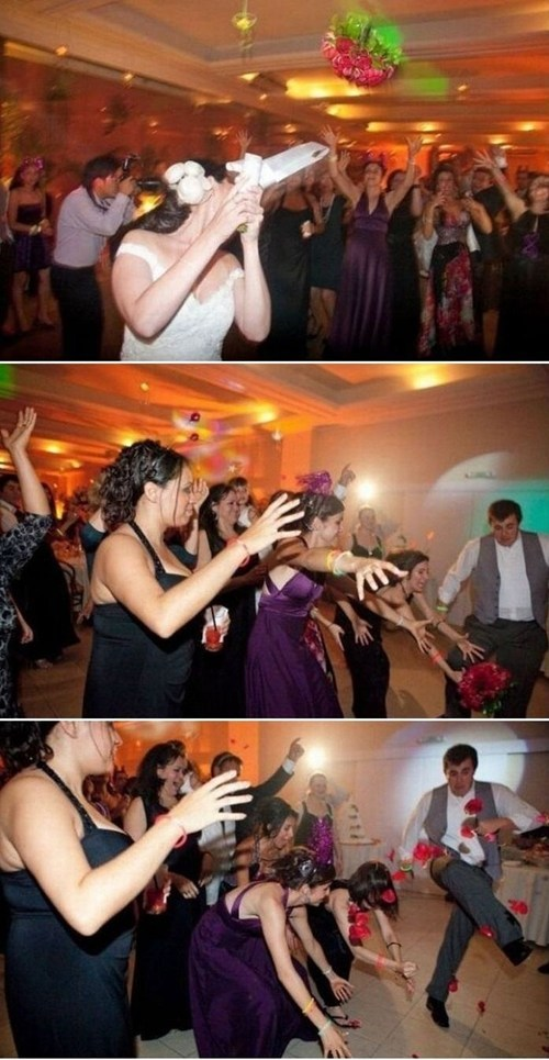 kicking receptions bouquet toss