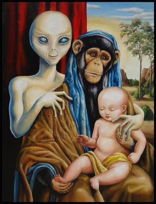 Aliens monkeys wtf painting - 7380638208