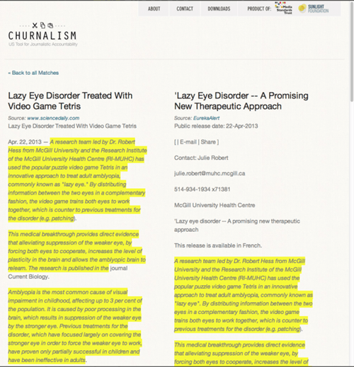 Single Serving Site of the Day: Churnalism