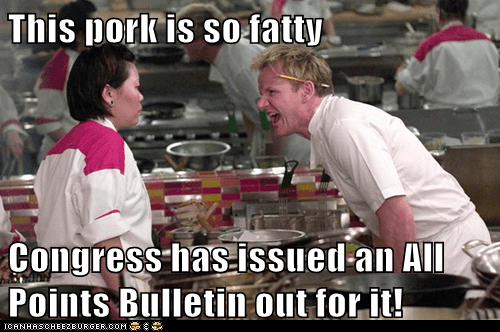 This pork is so fatty  Congress has issued an All Points Bulletin out for it!