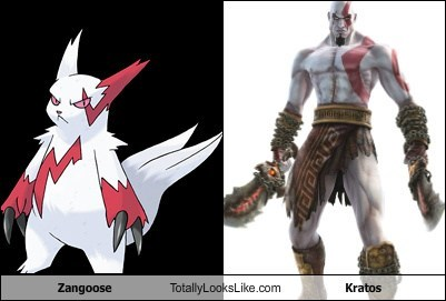 Pokémon zangoose Videogames totally looks like kratos
