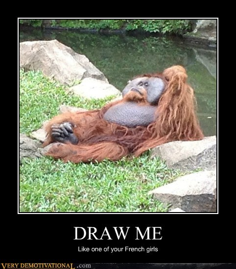ape,art,orangutan,french girls