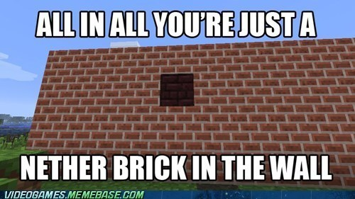 pink floyd puns minecraft another brick in the wall - 7382420480