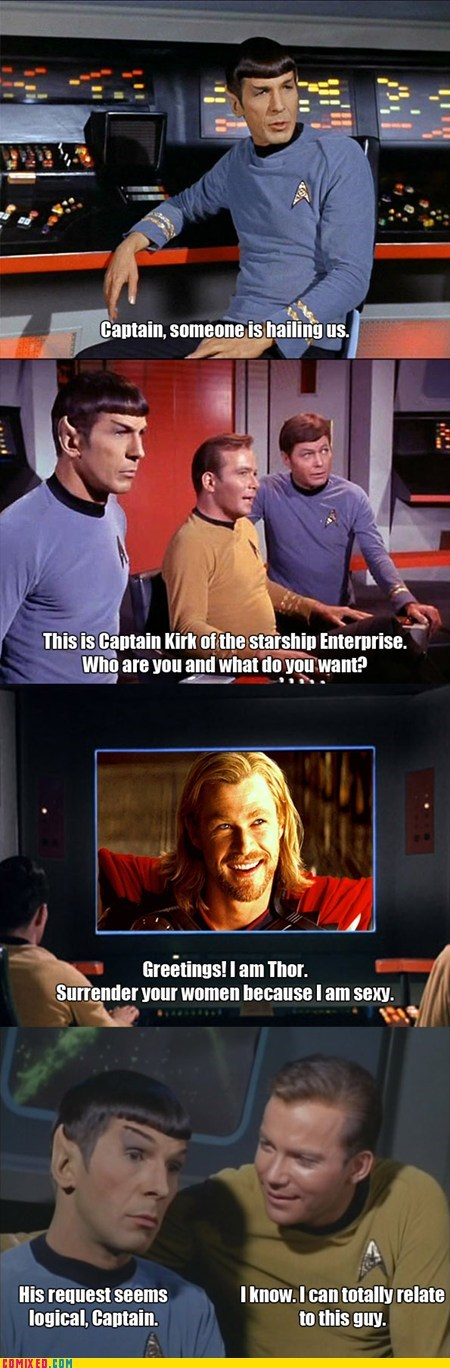 Captain Kirk,Thor,Spock,Star Trek,ladies
