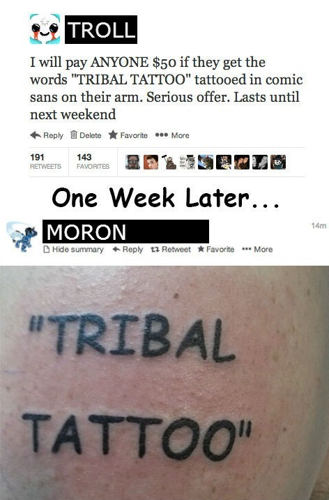 tribal tattoos,twitter,dares,comic sans