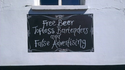 false advertising signs free beer