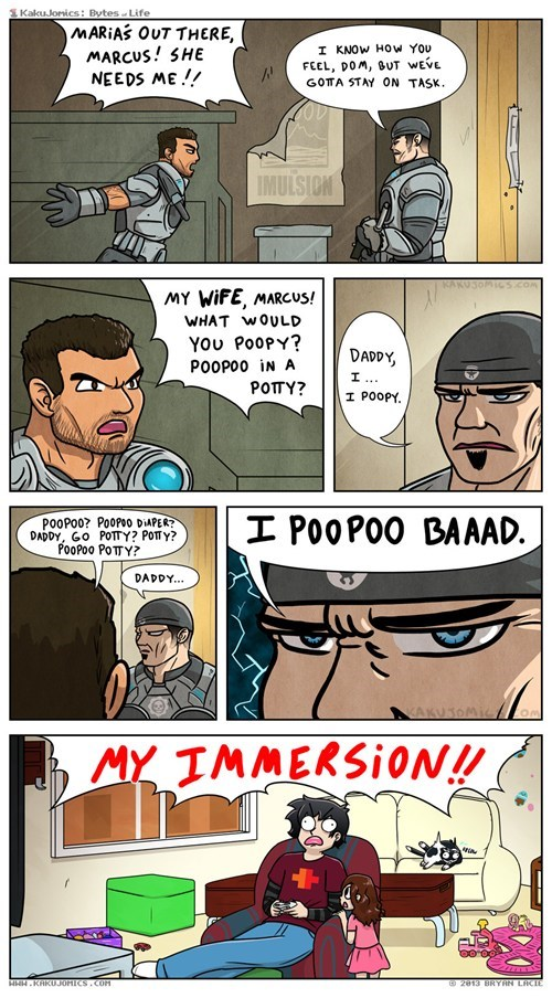 poop,comics,Gears of War,immersion
