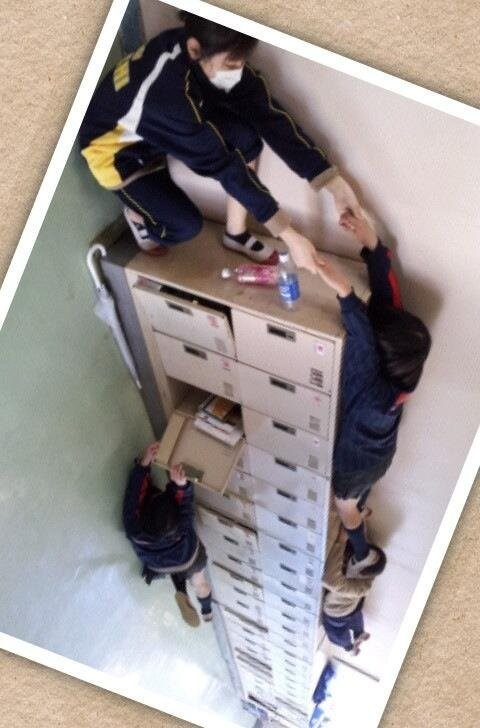 Optical Illusion of the Day: Locker Climbing