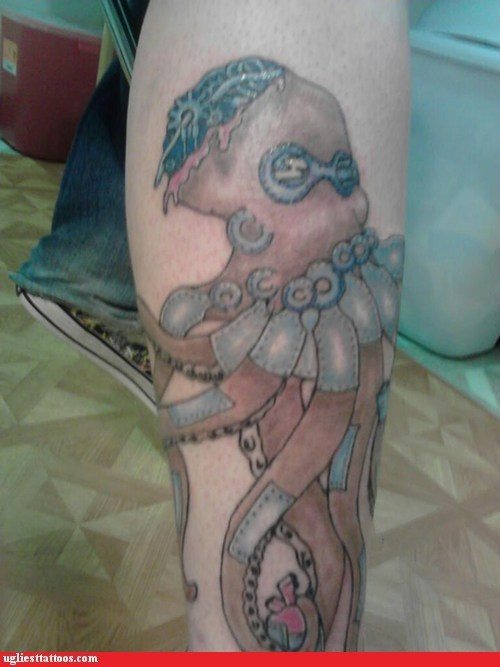 steam punk octopus g rated Ugliest Tattoos funny - 7385161216