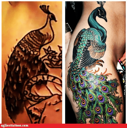 good vs bad,peacocks,leg tattoos