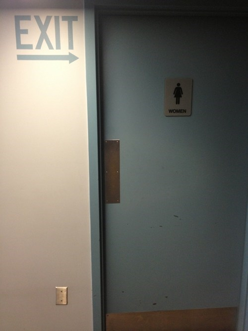 womens-restroom restroom exit sign bathroom - 7387087616
