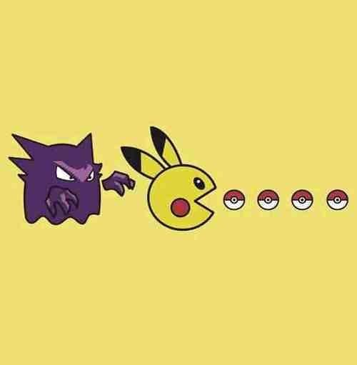 crossover,pac man,pikachu,haunter
