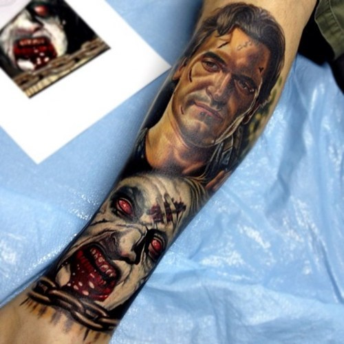 arm tattoos,evil dead,zombie,win