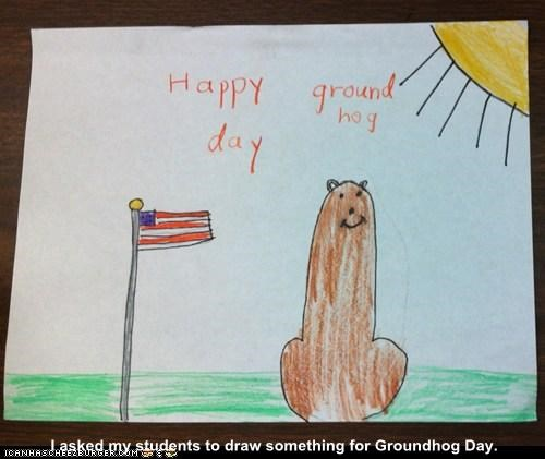 I asked my students to draw something for Groundhog Day.