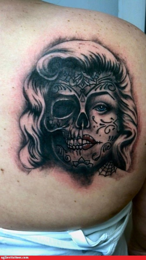 cliches,skeleton,sugar skull,marilyn monroe
