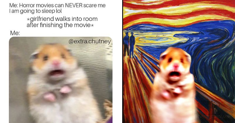 scared hamster meme as a monet painting