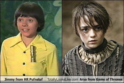 Jimmy from HR Pufnstuf Totally Looks Like Arya from Game of Thrones