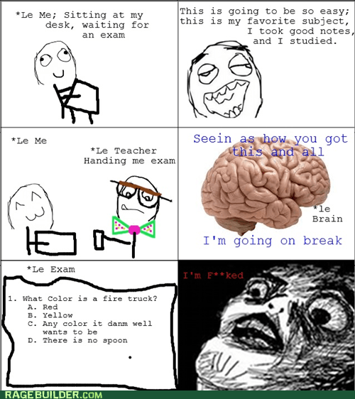 scumbag brain taking a test exams