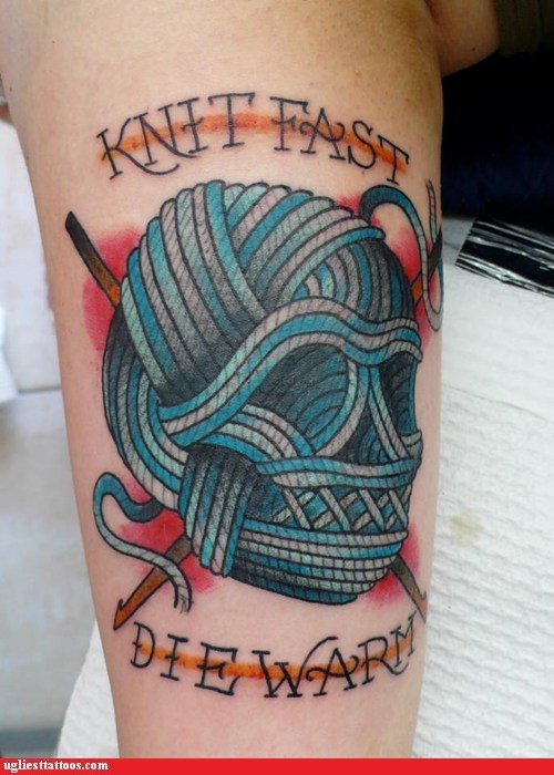 knits yarn skulls g rated Ugliest Tattoos - 7396269824