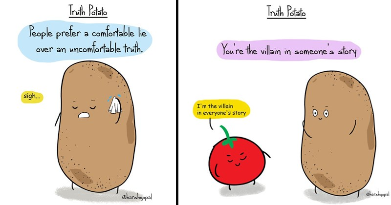 cartoon comic potato that tells the harsh realities of life