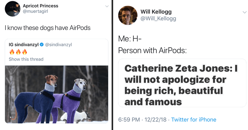 Funny airpods memes, airpods, apple, flexing, money, twitter.
