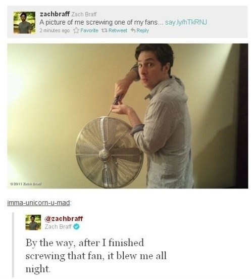 twitter,screwing,puns,Zach Braff,fans