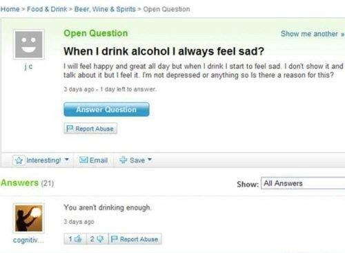 yahoo answers,not drinking enough,doing it wrong
