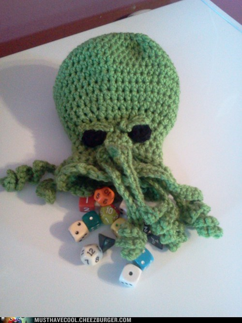 lovecraft Knitta Please dice nerdgasm cthulhu - 7401320448