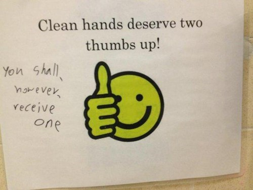 wash your hands signs thumbs up