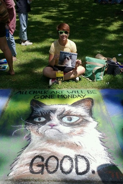 Grumpy Cat Street Art memes IRL chalk art - 7401902592