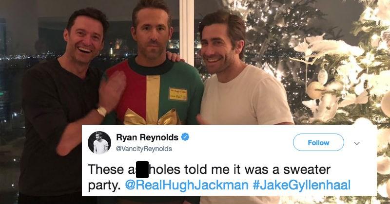 jake gyllenhaal and hugh jackman prank ryan reynolds into wearing a christmas sweater