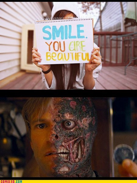 two face harvey dent smiles funny beautiful