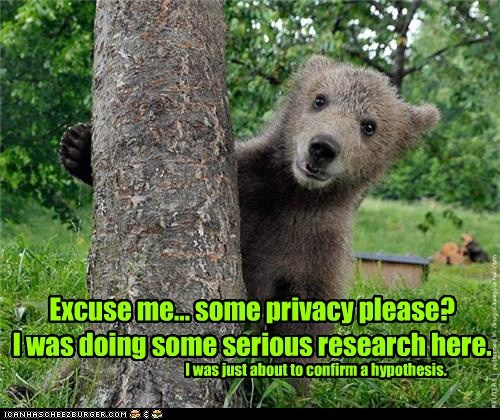 Excuse me... some privacy please? I was doing some serious research here. I was just about to confirm a hypothesis.