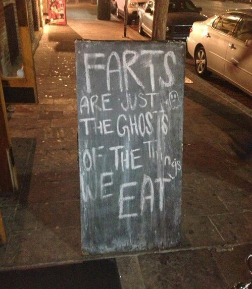 farts,signs,ghosts,food