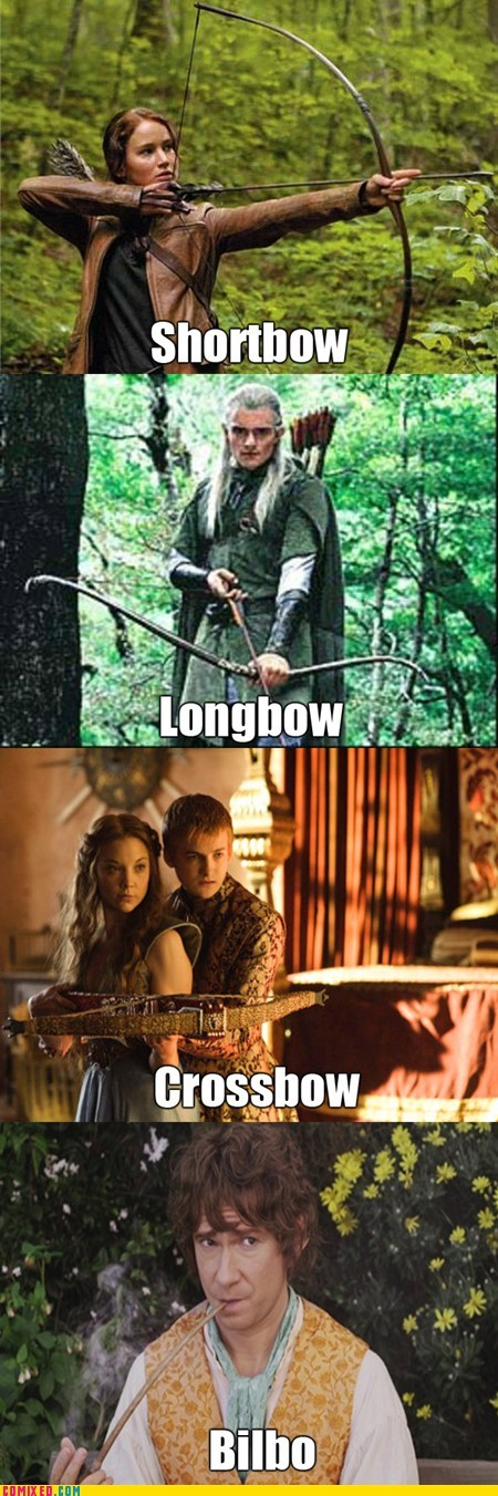 fantasy,Lord of the Rings,Game of Thrones,puns,hunger games,bows