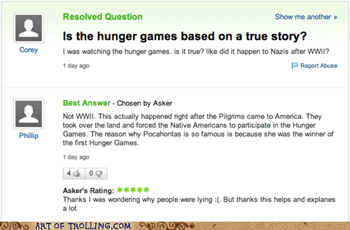 yahoo answers,world war 2,hunger games