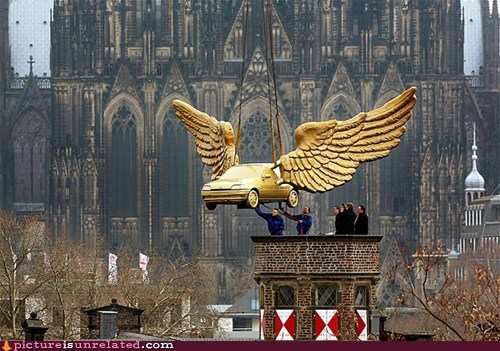 wtf art statues wings cars - 7406863104